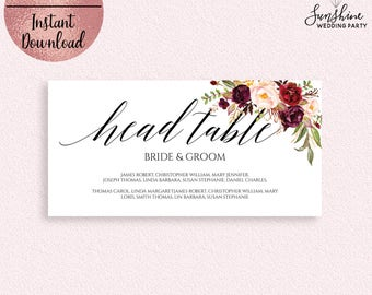 Red Floral Wedding Head Table Sign Template, Printable Script Font Wedding Table Sign with Guest Names, Editable Template, Digital Download