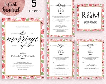 Floral Gold Foil Frame Wedding Invitation Suite Template, Printable Pink Floral Wedding Invitation Kit, Editable Invitation Digital Download