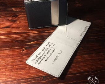 Engraved Minimalist Wallet. Most Awesome Gift for Men! Personalized Gift!