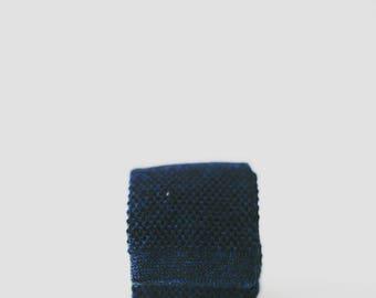 Handmade Dark Blue  100% Wool Knitted Tie... Neck Tie, Men's Tie, Father's Day
