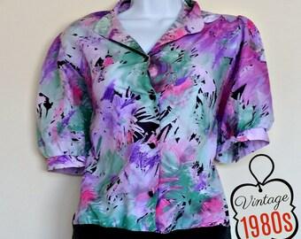 Vintage Pastel Neon 80s Top Tropical - Size M, Bright Colourful, Colour Colours, 14 Baggy Retro, Fourteen Large Med, L Purple Blue Pink