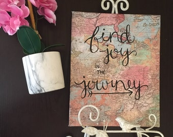 Find Joy in the Journey Canvas | 8 x 10 in | Map Art & Travel Canvas | Custom Canvas | Hanging Wall Art/Decor