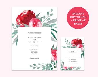 Wedding Invitation Template Suite | Printable Wedding Invite Set | DIY Wedding Watercolour Invites Template | Floral Invitation Template