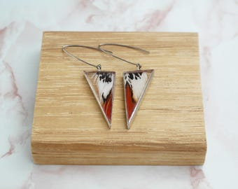 Earrings with natural feathers. Free paint.