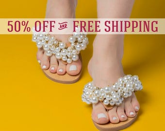 """50% OFF Greek sandals """"Gabriella""""\Wedding shoes\Bridal Summer flats\Pearl shoes\ Leather slides\Pom pom shoes\Luxury shoes\Free shipping!"""