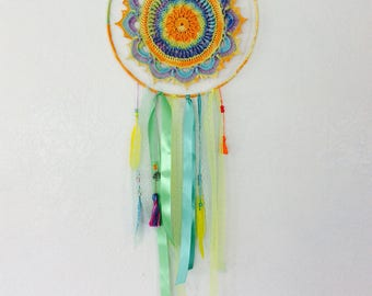 Colour burst crochet dreamcatcher