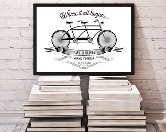 CUSTOM Bicycle Sign, Wedding Gift, Anniversary Gift, Valentine's Day Gift, 11x14 Home Decor Poster Sign, Vintage Bicycle, Tandem Bike