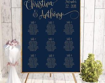 Wedding seating chart template, wedding seating chart poster, Wedding seating chart alphabetical, Navy Seating chart, Seating chart,  #170