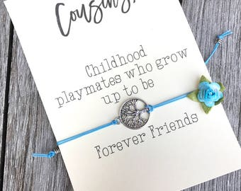 Gift for cousin, Cousin jewelry, Cousin bracelet, Family reunion favors, Best cousins, Tree of life, Friendship bracelet, Cousins gift, A79