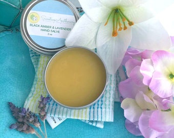 Black Amber and Lavender Hand and Foot Salve, Hand Salve, Hand Balm, Foot Balm, Hand Ointment, Foot Salve, Hand Cream,