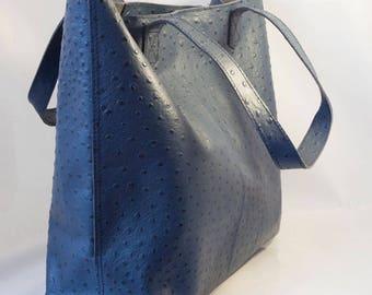 Leather Tote in Blue (Ostritch Pattern)