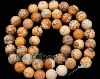Jasper Picture Beads, Brown beads, Gemstone beads, Round Stone Natural Beads, 15''5 Full Strand, 2mm 3mm 4mm 6mm 8mm 10mm
