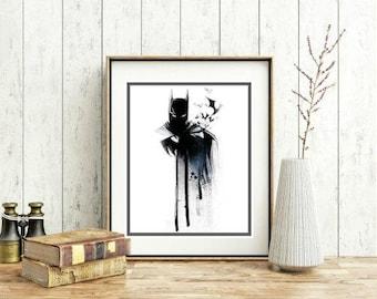 Batman Drawing. Movie Based Wall Decor. Wall Printable. 8x10in. Digital Download.