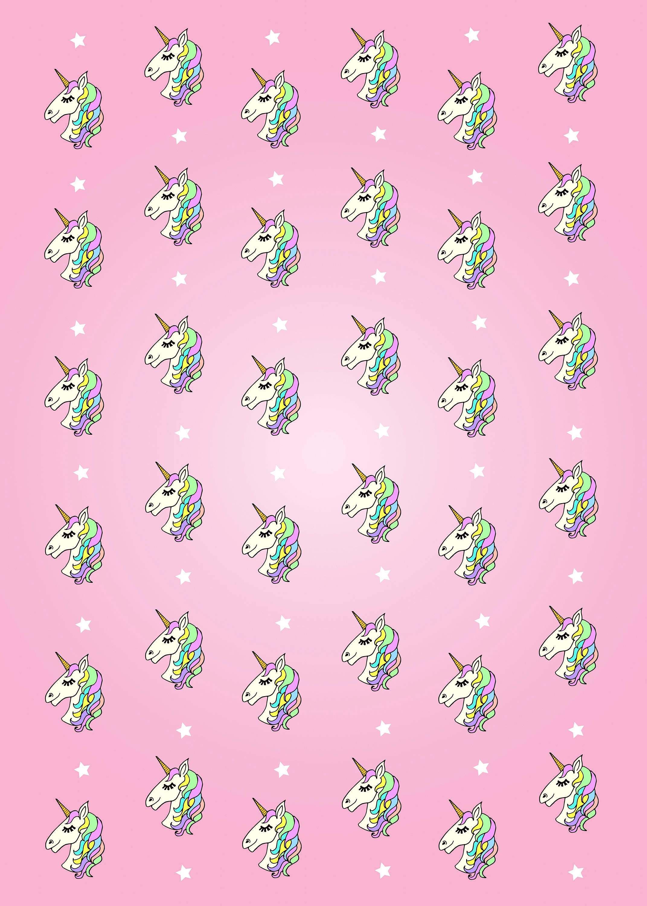 Unicorn Wrapping Paper Sheet Ombre Pink Unicorn Gift Wrap