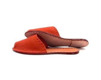 Apricot Felt & Leather Slippers, House Slippers, Flats, Men, Women, Unisex