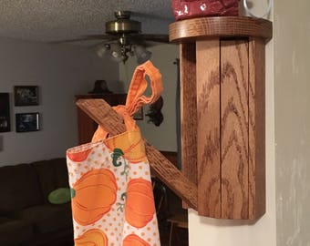 Handmade Small Shelf with Double Towel Rack -  coat rack, towel drying rack, scarf rack, umbrellas or to just display small items on shelf