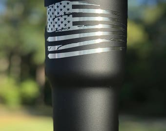American Flag Powder Coated Yeti Tumbler/No Vinyl Decal/Custom Yeti/Glitter Yeti/Gift/Yeti Cup/Distressed Flag/America/Merica
