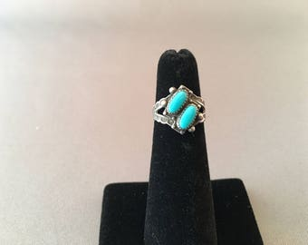 SALE!  Turquoise and Sterling Vintage ring, beautiful detail around the two stones, well-made piece, great for your turquoise collection!