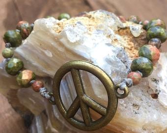 Unakite Peace Bracelet