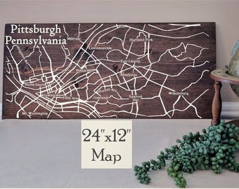 Pittsburgh Map Art, Large Wooden Map, Pittsburgh Map, Pittsburgh Map Wall Art, Wooden Street Map, Painted Wood Map, Address Map by Novel Map