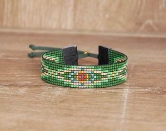 Miyuki green woven bracelet