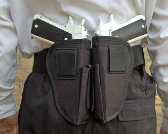 Gunset Cosplay Custom set from the Gunsmith Gunbelt Holsterset Double Guns Dress Up Left Right Holster - White Double M1911's