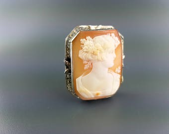 14kt White Gold 1920s Cameo Pin
