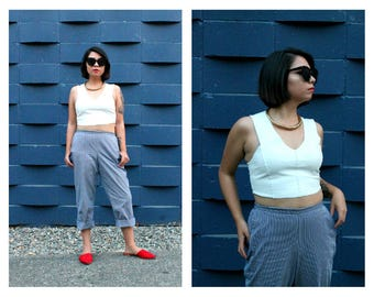 Vintage Blue & White Striped Trouser | Casual Pinstripe Pant | High Rise