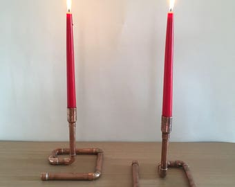 Copper candlesticks, pair of Christmas candle holders, rustic look, copper pipe, copper gift