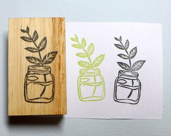 Plant in Mason Jar Rubber Stamp