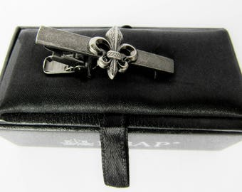 Fleur de Lis Tie Clip  Gift Father's Day Present flower of the lily French royalty Quebec Dark Grey