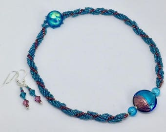 Dichroic Purple and Teal Beaded Necklace