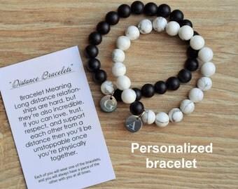distance bracelet long distance relationship bracelet long distance boyfriend gift for him girlfriend custom couple bracelet personalized