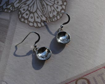 Silver Circle Dangle Drop Earrings/ Textured and Domed Earrings/Dainty Earrings/Sterling Silver 925/Gift For Her.