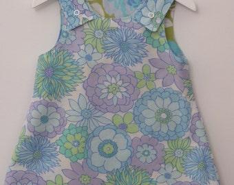 SALE - Handmade Reversible Pinafore Dress, blue florals,