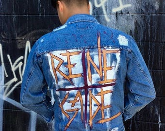 """Distressed Hand Painted Upcycled Denim Jacket- """"Renegade"""""""