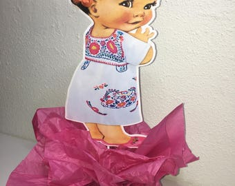 Mexican Baby girl centerpiece, Baby shower, birthday centerpiece, New baby centerpiece