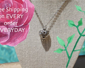 Heart Oil Diffuser Necklace with Lava Bead and Free Sample of doTerra Essential Oil