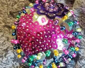 "Sequin Ornament Ball 3"" Handmade"