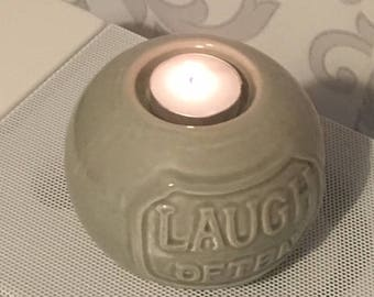 Laugh Often Slogan Ceramic Candle Holder, Ceramic Tealight Candle Holder, Table Tea Candle Ceramic Holder