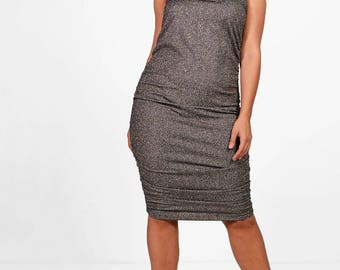 Bandeau Wrap Midi Dress - Shimmer Wrap Pleated Midi Dress