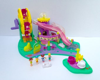 """Polly Pocket Vintage """" Rides and Surprises """" Fun fair collection, Ferris Wheel and tower slide, amusement park, carnival, Bluebird 1996"""