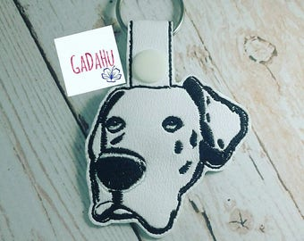 Great Dane Dog Key Snap Tab Embroidery Design 4X4 size