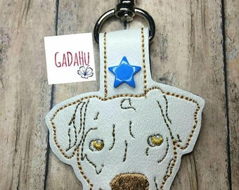 Pit bull Dog Key Chain / Snap Tab Embroidery Design 4X4 size. Dog Key Fob in the hoop embroidery design. Pitbull