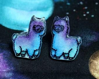 Galaxy Glitter Alpaca Stud Earrings