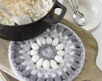 100% wool felted trivet