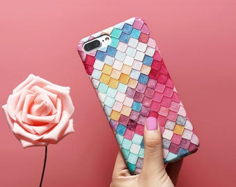 Mermaid Fish Squama Colorful Grid 3D Scales Luminous Case iPhone 7 Plus 7 6 6s Plus 5 5s SE Samsung S7 S7 Edge s8 Plus A3 A5 2017