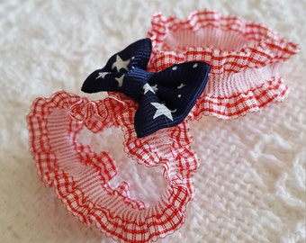 4th of july baby barefoot sandals - baby barefoot sandals - blue and red baby sandals - baby photo prop - newborn shoes - baby shoes