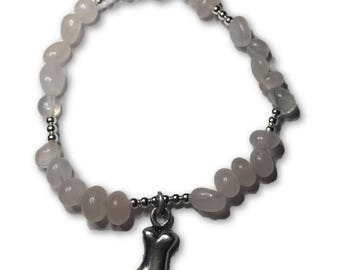 Animal Lover Dog Bone Charm Bracelet- Pale Pink Rose Quartz And Shiny Silver