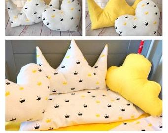 Cushions for nursery and kids bedroom , decorative pillows for kids, nursery decor, crowns, horse, fox, animal print